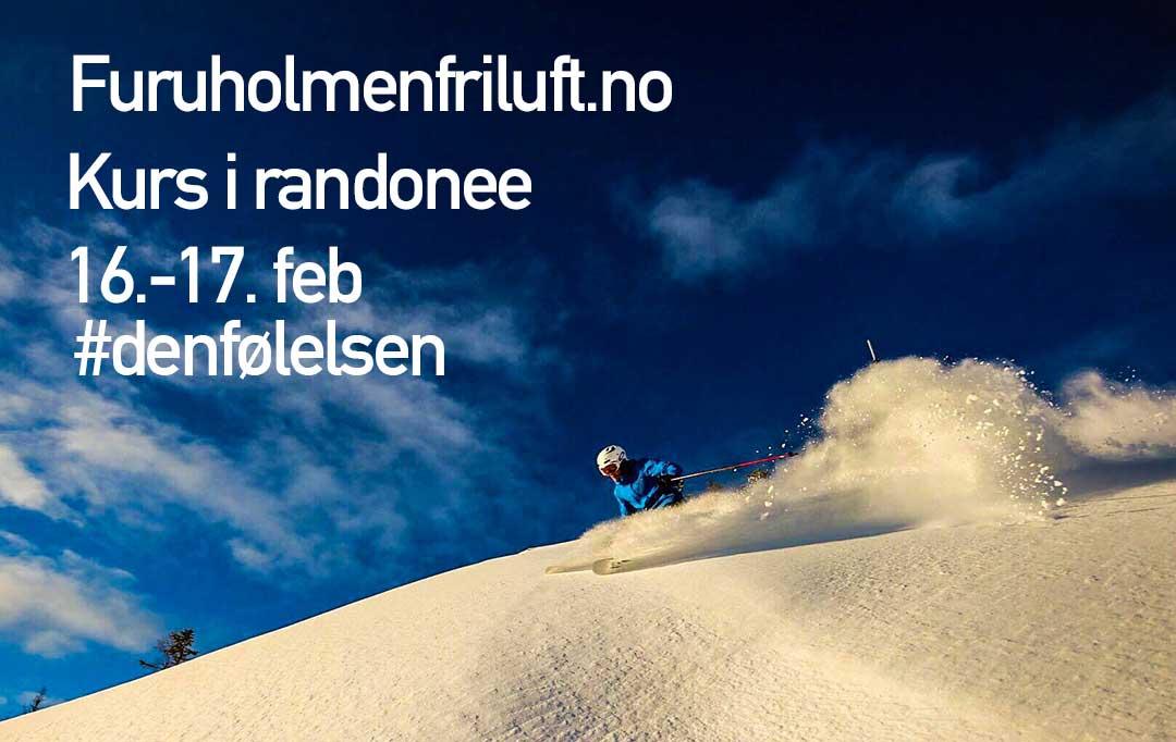 Kurs i randonee 16 februar - mann suser ned fjellside